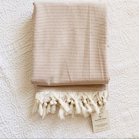 SHOWER CURTAIN Stripes tassels Magnolia Cotton